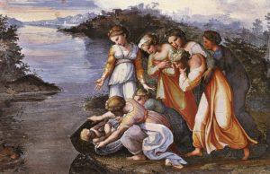 Technika: freskóÉv: 1518–19Hely: Apostoli Palota, VatikánJelenet: 2Móz 2, 1–10