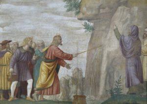 LuiniTechnika: freskó táblára helyezveÉv: 1514Hely: Pinacoteca di Brera, Milánó<br /> Jelenet: 2Móz 17, 5–7