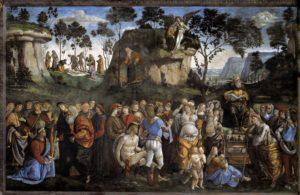 Technika: freskó<br /> Év: 1481–82Hely: Sixtus-kápolna, Vatikán<br /> Jelenet: 5Móz 34, 5–7 (Mózes halála)